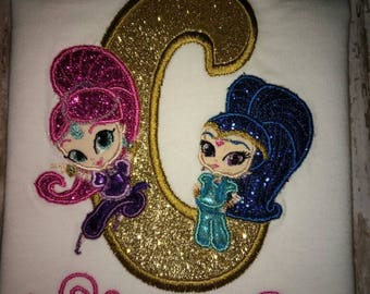 Number or Letter Personalized Shimmer and Shine birthday top shirt onesie size 12m 18m 2t 3t 4t 5t 6 7/8
