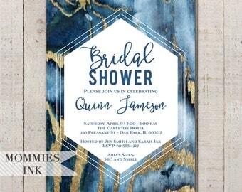 Agate Bridal Shower Invitation, Blue and Gold Invitation, Geode Invitation, Modern Invitation, Shower Invite, Abstract Invite