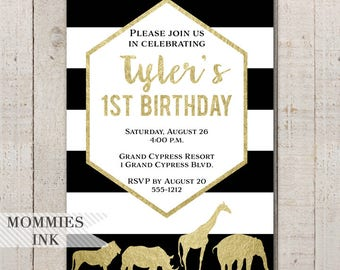 Gold Safari Birthday Invitation, Birthday Party Invitation, Black White Gold, Safari Invite, Jungle Invite, Safari Party, 1st Birthday