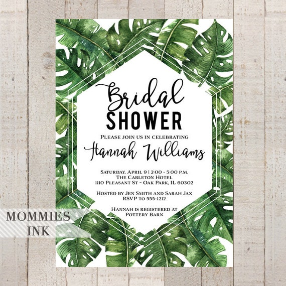 Tropical bridal shower invitation banana leaf invitation palm leaf il570xn filmwisefo