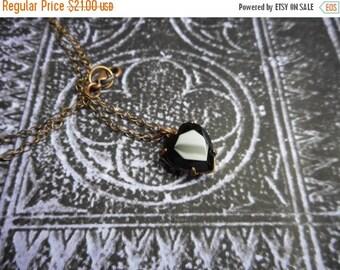 SALE The Dark Heart Necklace. Petite Gothic Black Glass Rustic copper setting heart pendant necklace