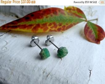 SALE The Twilight Meadow Emerald Earrings. Genuine Emerald Raw Rough Specimens & titanium post earrings. Ear studs. simple delicate romantic