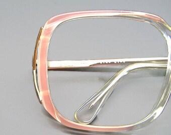 Vintage 70s Pink Fades Big Lens Eyeglasses Eyewear Frames NOS Frame