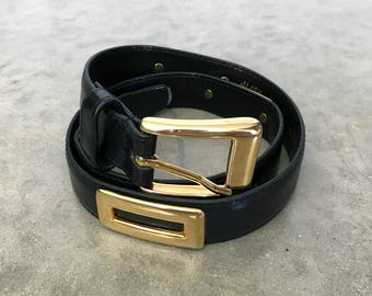 navy belt with gold tone metal detail - 1211487