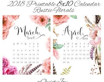 8x10 2018 Rustic Floral Printable Desk Calendar. Instant Download.