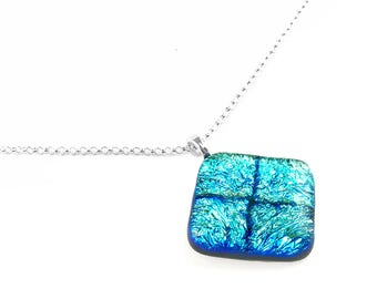 Pendant Necklace, Crinkled Aqua Blue Dichroic Glass Jewelry