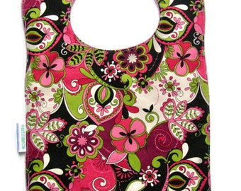 Bib, Large Bib, Deco Floral,  Toddler Bib, Baby Bib, Food Bib, Reversible Bib, Minky Bib, Oversized Bib, Ready to Ship, Baby Shower Gift