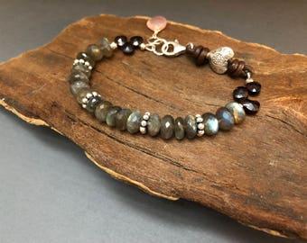 Labradorite bracelet, Labradorite Leather Bracelet, Hill Tribe Silver Bohemian Heart Bracelet, Bohemian Bracelet