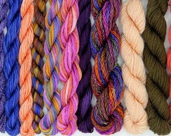Embroidery threads, Silk thread combination, periwinkle, needlepoint, silk fibers, thread assortment, pink, hand dyed thread, holiday gift