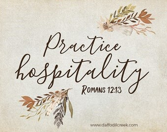 Practice Hospitality - Bible Verse Art, Brown Kitchen Wall Art, Print for Dining Room, Rustic Kitchen Decor, Romans 12, Hospitality Quote