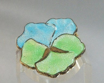 SALE Vintage Pansy Brooch. Baby Blue. Mint Green. Guilloche