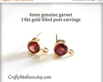 7% off SHOP SALE Red GARNET Genuine Gemstone and 14kt gold filled Post Earrings w/ backings (4mm) - 1 Pair (2 pieces)