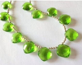 8% off SHOP-WIDE, PERIDOT Green Hydro Quartz Faceted Cushion Briolettes, (1) Matched Pair, 13mm, earring, diy jewelry