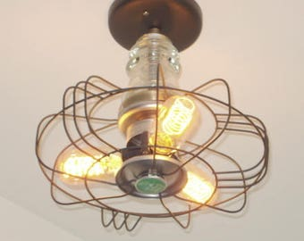 "INDUSTRIAL LIGHT Vintage ""Signal Coolspot"" Fan Ceiling Flush Mount Upcycle Repurpose Edison Bulbs & Glass Antique CLEAR Insulator LampGoods"