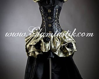 Custom Size Black and Gold Steampunk Burlesque corset bustled train chain and roses prom dress S-XL