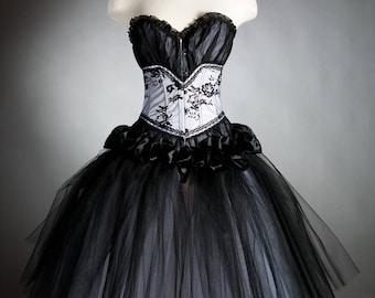 Custom size black and white Tea Length  tulle Burlesque Corset Prom dress small-XL