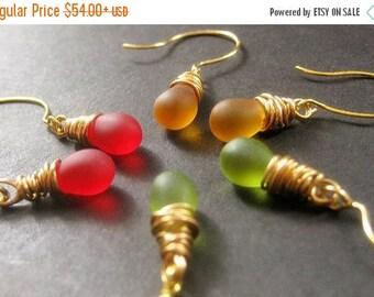 SUMMER SALE Fall Colors Teardrop Earrings Set of Three, Wire Wrapped, Gold - Autumn Elixirs. Handmade Earrings.