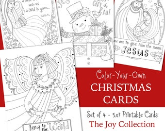 JOY O CHRISTMAS Coloring Cards