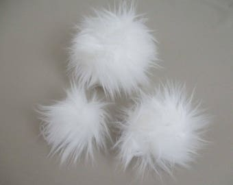 White Faux Fur Pom Pom Small Medium Large Vegan Friendly