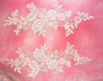 """Embroidered Venice Lace Appliques White Silver Floral Venice Lace Mirror Pair 10"""" (DH109X-whsl)"""