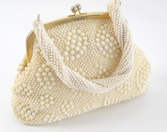 Vintage Ivory and Gold Beaded Handbag • Mid Century Ladies Purse Hong Kong