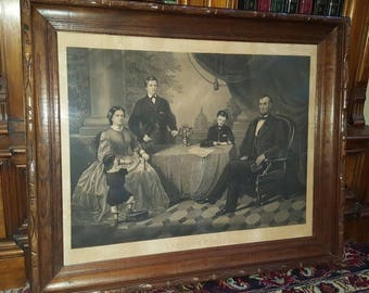 Antique Engraving ABRAHAM LINCOLN & His Family Proclamation of Freedom