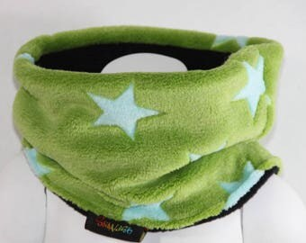 SNOOD FLEECE GREEN STARS 3 CHILD SIZES 2/3 YEARS, 4/6 AND 8/12 YEARS