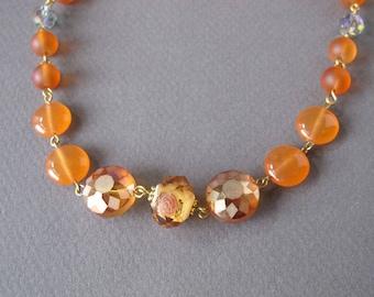 Tangerine Short Orange Necklace Fancy Fun