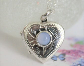Silver locket. Sterling silver locket with blue lace agate. Heart locket.  Locket and chain