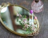 Miroir Vintage tournesol, miroir ancien plateau, plateau en filigrane d'or, miroir plateau ovale, plateau de meuble antique en filigrane, fleurs et feuilles