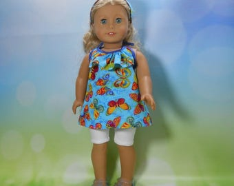 18 inch doll clothes, Three Piece Outfit, Ruffle Top, Knit Cycle Shorts and Headband, 05-2102