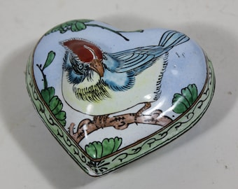 Vintage Enameled Metal Red and Blue Cardinal Bird Design Heart Shaped Trinket Box