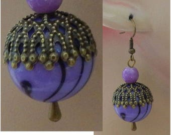 Gold & Purple Striped Charm Drop/Dangle Earrings Handmade Jewelry NEW Hook Handmade Jewelry NEW Hook