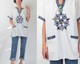 30% Off FLASH SALE 60s 70s Dashiki Blouse Hippie Embroidered White Cotton Blouse Boho Ethnic Pullover Tunic Top Blue Yellow Mandala Shirt Fe