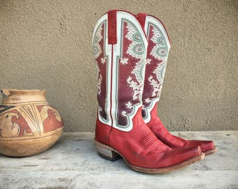 Pre-owned cowboy boots Women's Size 9 B Ariat Alameda red cowgirl boots for Fourth of July