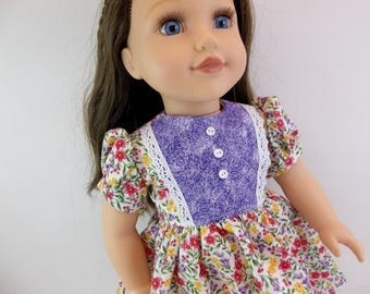 18 inch Doll Dress Fits American Girl Doll  Floral Dress with Purple Lace Edged Front
