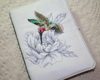 Kindle Cover - ereader cover- Humming bird embroidery