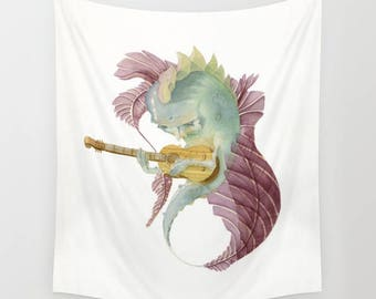 Fish Wall Hanging Fabric Tapestry///Watercolor Art Painting/Acoustic Guitar/Musician/Music/Melancholy/Whimsical/White/Green/Illustration Art