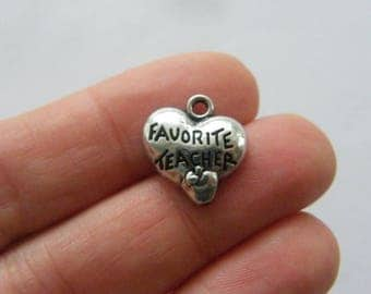 BULK 20 Favorite teacher charms antique silver tone M813