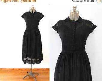 ON SALE Black 1940s Dress / 40s Sheer Black Cotton Voile Dress