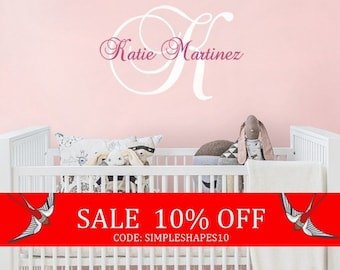 Summer Sale - Wall Decal Name Nursery Wall Decal - Custom Monogrammed Wall Decal for Girl or Boy in any Color