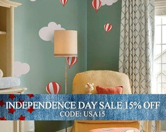 Independence Day Sale - Hot air balloon with Clouds Decal Set - Kids vinyl Wall Sticker