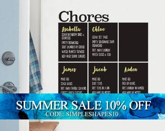 Chores Chart Chalkboard Wall Decal, Kids Chores, Family Chores Decal, Household Chores Wall Decal, Weekly Chores Decal
