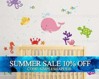 Ocean Friends, Under the Sea Wall Decal for Nautical Theme Nursery, Kids or Childrens Room - Peel and Stick Wall Sticker
