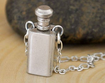 antique sterling silver locket container necklace, square tube perfume locket, old pendant, container locket,