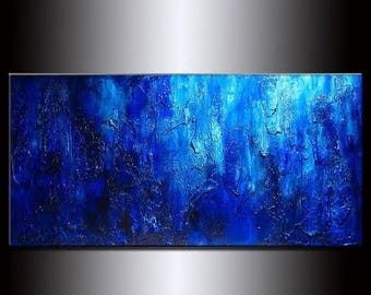 Blue Original Modern Acrylic Art on Canvas Thick Texture Abstract Painting by Henry Parsinia Large 48x24