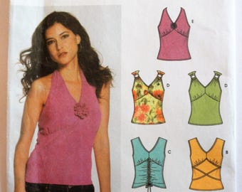 Halter top pattern, sleeveless fitted V neck knits only top pattern uncut pattern Simplicity 5055 misses size 4 6 8 10 bust 29 1/2 to 32 1/2