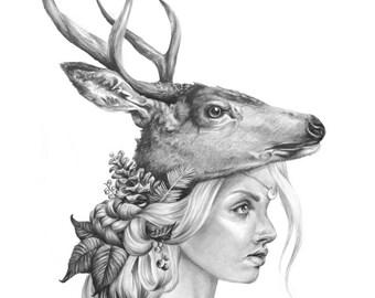 Winter Moon- deer- Black and white- -signed print- woman portrait- power animal- moon- pencil- tattoo art
