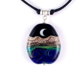 "Necklace ""Dreamtime"" Handmade Lampwork Glass Bead Focal Pendant"