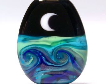 Moon Waves - Handmade Lampwork Glass Bead Focal - Reversible - SRA
